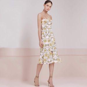 keepsake the label celestial strapless midi dress